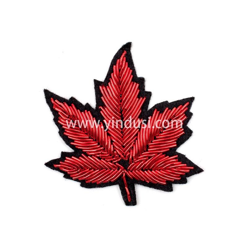 红梧桐叶手工刺绣印度丝徽章胸针高档配饰胸花工厂定制订做