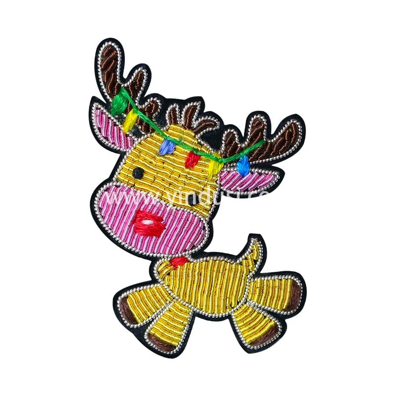 手工刺绣创意胸花卡通圣诞麋小鹿胸针女高档配饰印度丝徽章