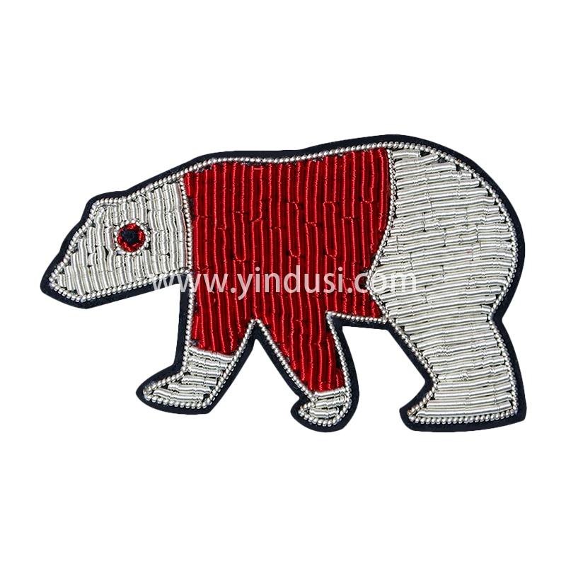 手工刺绣动物胸花卡通北极熊猫胸针男女高档配饰印度丝徽章