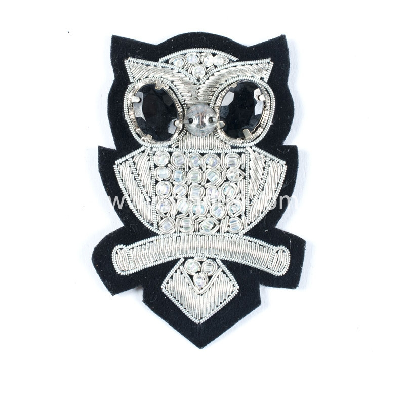 银钻猫头鹰手工刺绣印度丝徽章胸针高档配饰胸花工厂定制订做