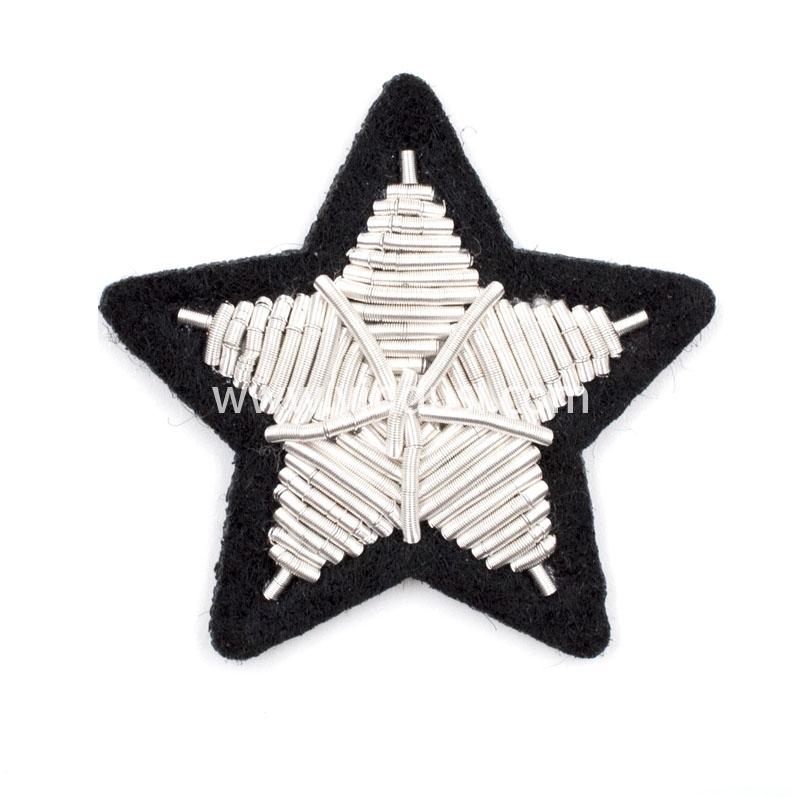 银色五角星印度丝徽章定制高端大牌布贴手工刺绣徽章服装辅料定做