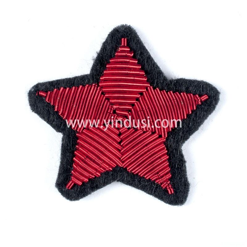 红色五角星手工刺绣印度丝徽章胸针高档配饰胸花工厂定制订做