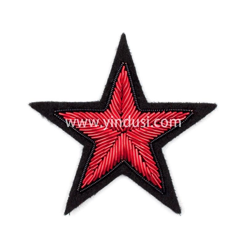 红五星印度丝徽章定制高端大牌布贴手工刺绣徽章服装辅料定做