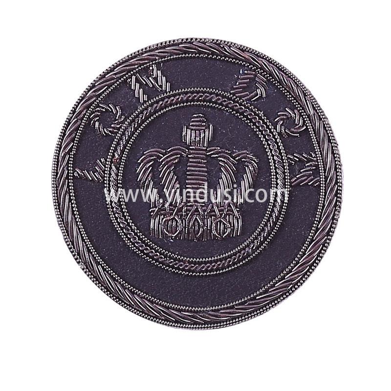 灰色皇冠手工刺绣印度丝徽章胸针高档配饰胸花工厂定制订做