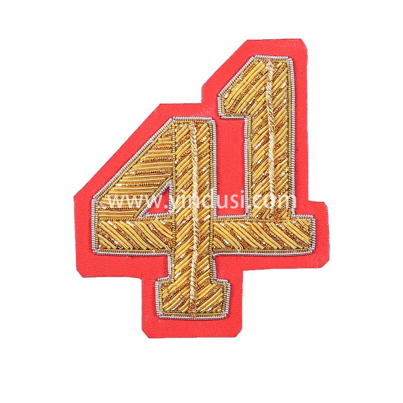金红底41手工刺绣印度丝徽章胸针高档配饰胸花工厂定制订做