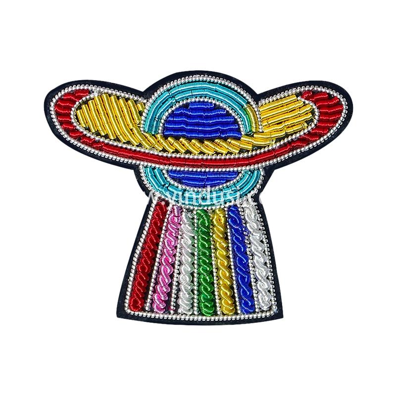 手工刺绣徽章太空飞船宇宙星际飞碟地球守卫者印度丝胸针潮