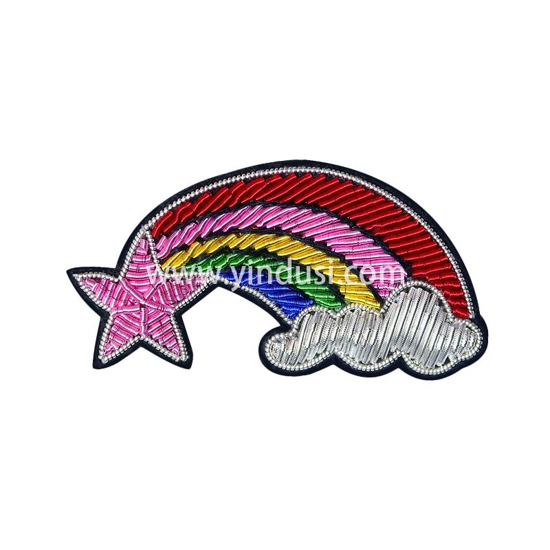 创意浪漫趣味可爱星光彩虹云朵印度丝材料手工刺绣胸针