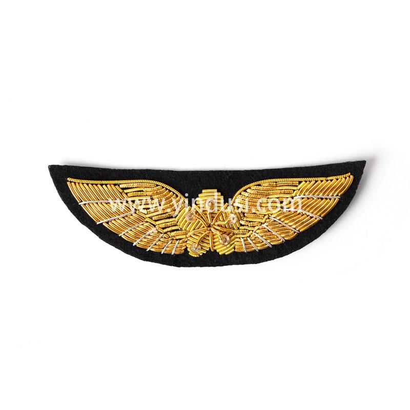 五星展翅章手工刺绣印度丝徽章胸针高档配饰胸花工厂定制订做