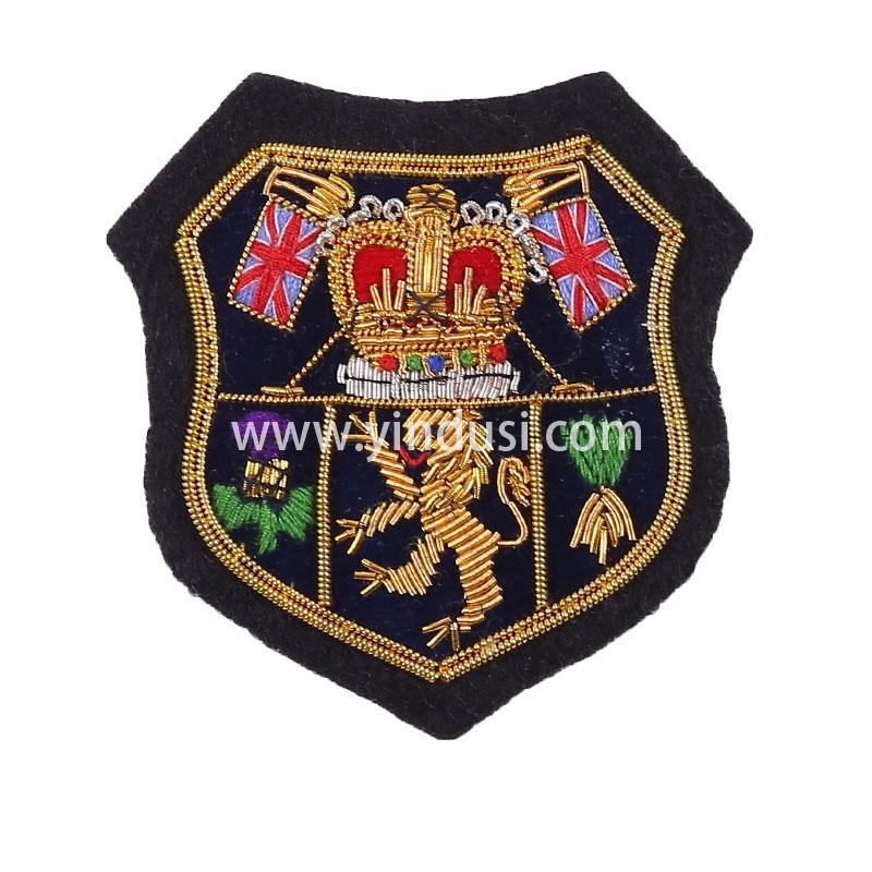 皇冠狮子盾章手工刺绣印度丝徽章胸针高档配饰胸花工厂定制订做