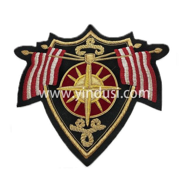 旗盾章手工刺绣印度丝徽章胸针高档配饰胸花工厂定制订做