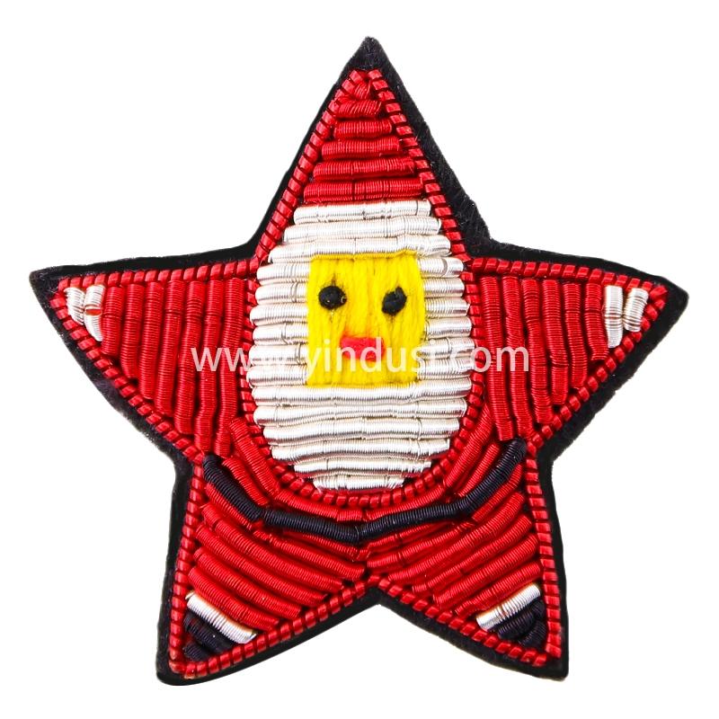 印度丝手工刺绣胸针别针女创意卡通可爱圣诞红星衣服包包配饰徽章