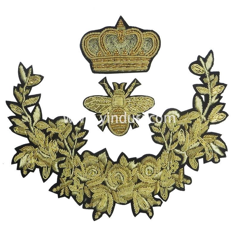 供应印度丝徽章 印度绣 印度丝帽徽厂家直销