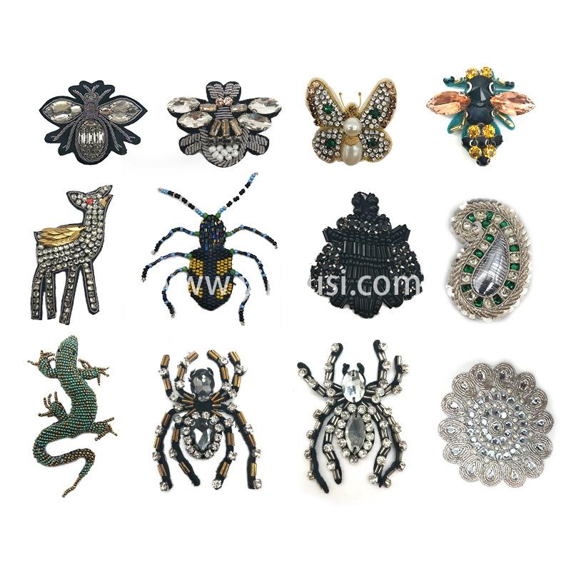 钉珠布贴手工钉珠花边钉珠布贴机器钉珠 印度工厂直销 量大从优