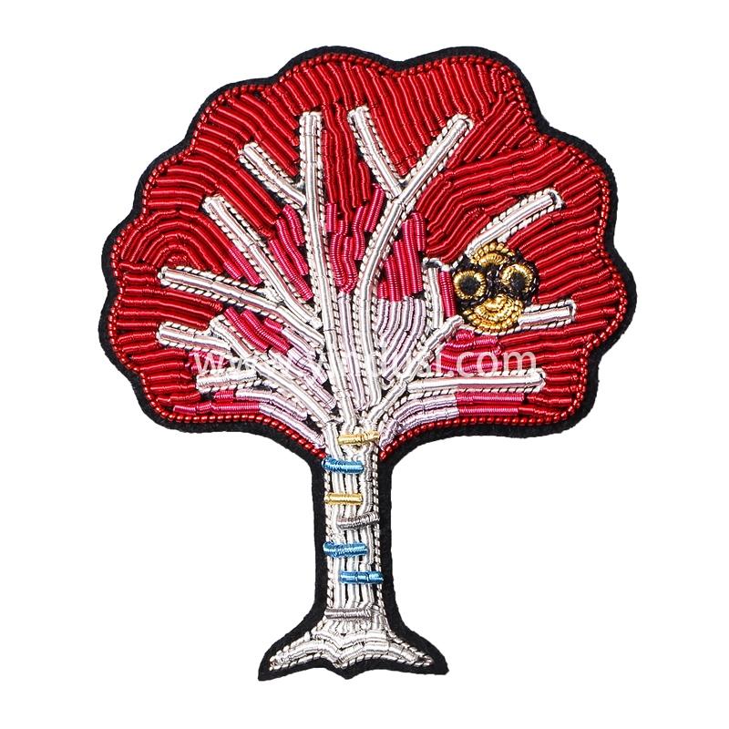 手工刺绣胸针高档女配饰别针固定衣服装饰枫树猫头鹰创意个性徽章
