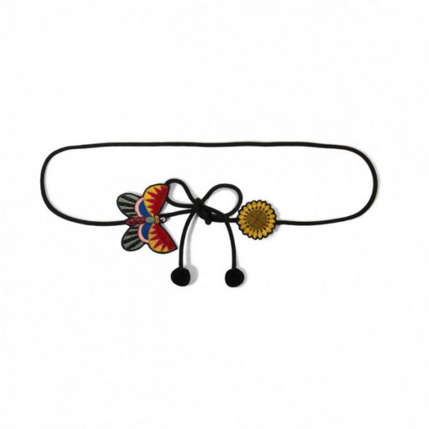印度丝徽章手工刺绣太阳-蝴蝶腰带G&L设计的腰带黑色小礼服配饰