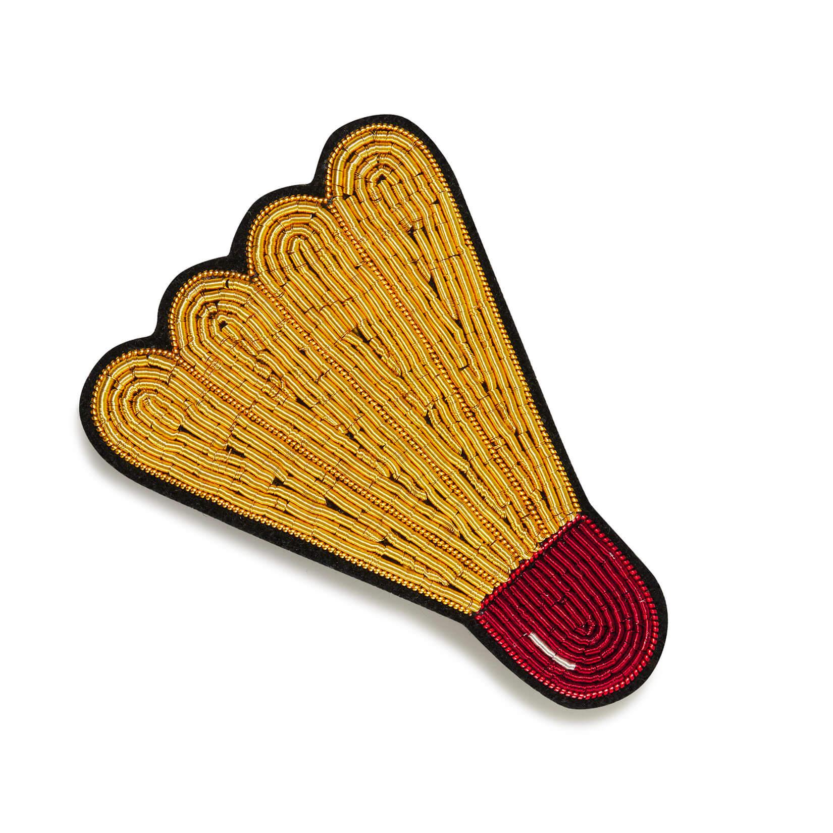 印度丝徽章手工刺绣羽毛球发夹头饰,对于毛茸茸的运动场  尺寸:约49x65mm