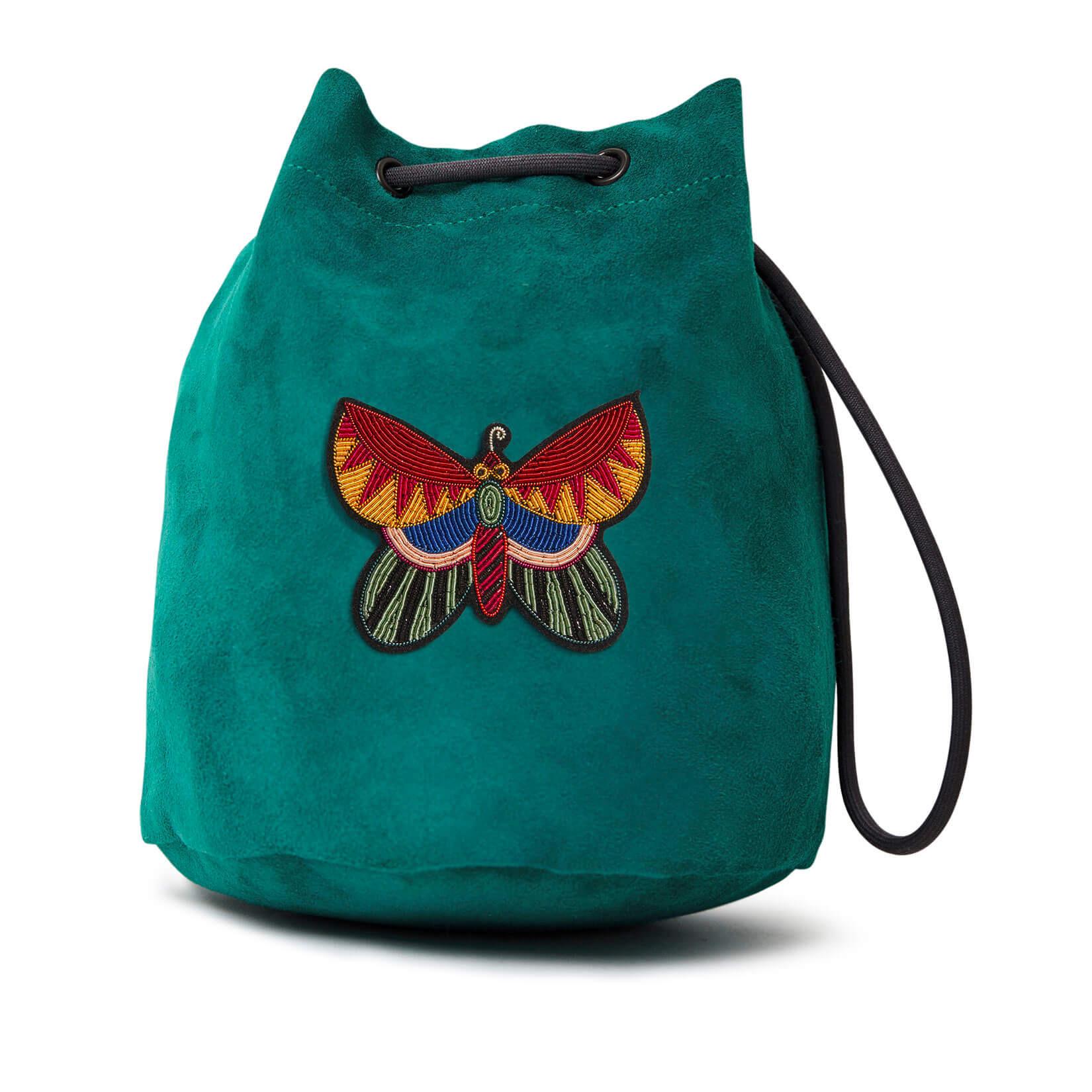 印度丝手工刺绣蝴蝶背包,蝴蝶被鸭绿吸引无论是单独还是在社交场合当地小酒馆。