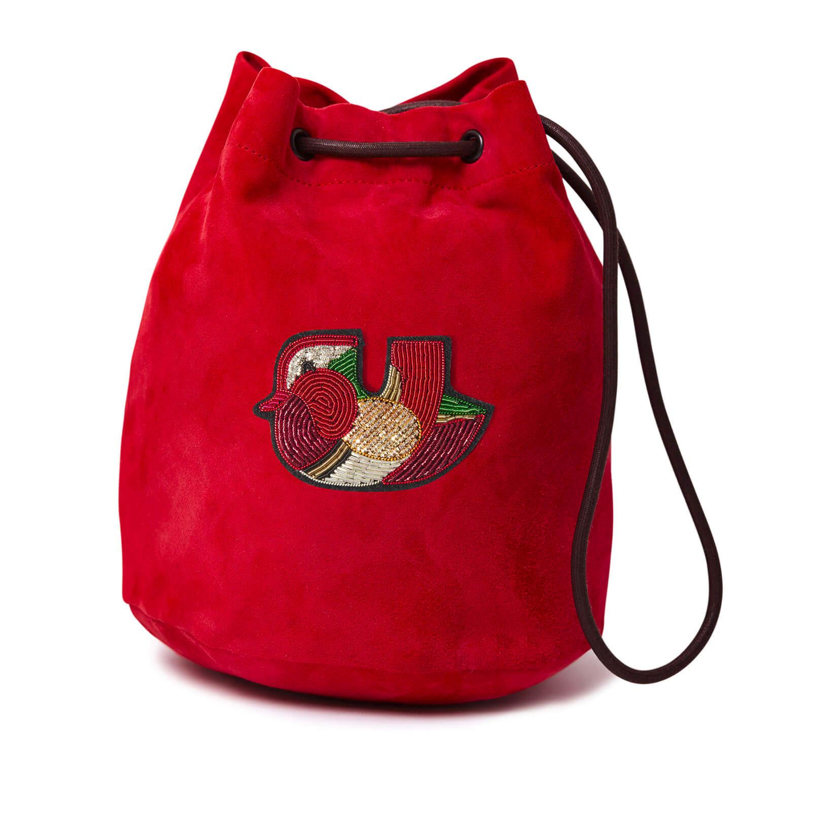 印度丝手工刺绣红色小鸭子背包,我们带山羊绒的背包将在任何地方陪伴您