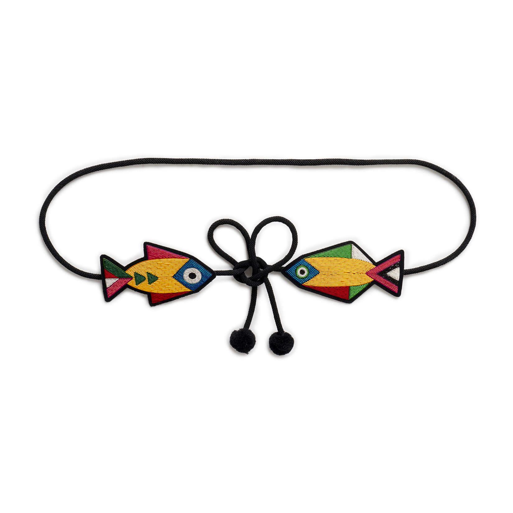 印度丝徽章手工刺绣天堂鱼腰带,精美彰显您的腰部,黑色小礼服配饰。