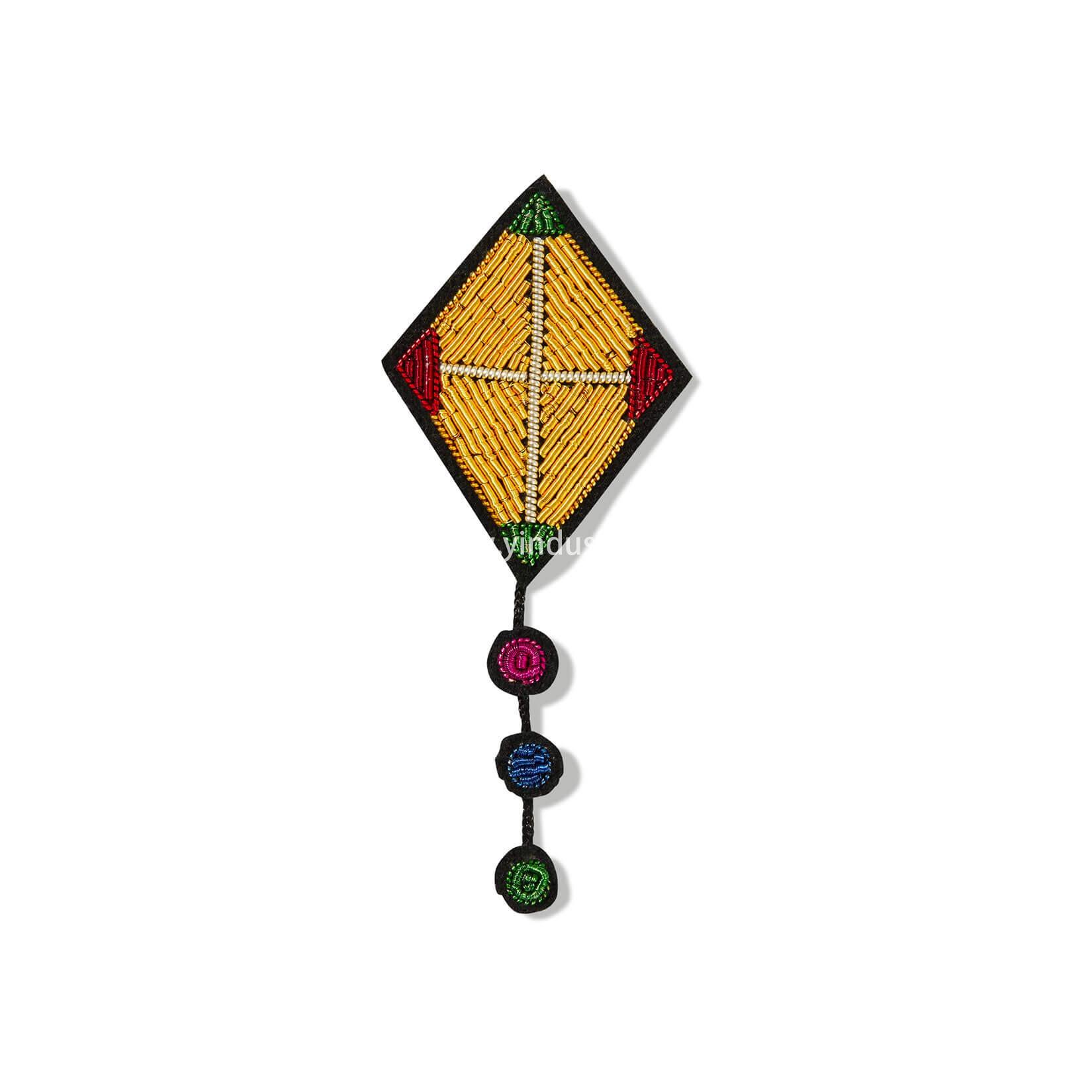 印度丝徽章工厂手工刺绣金属丝创意风筝胸针定制,在风中!
