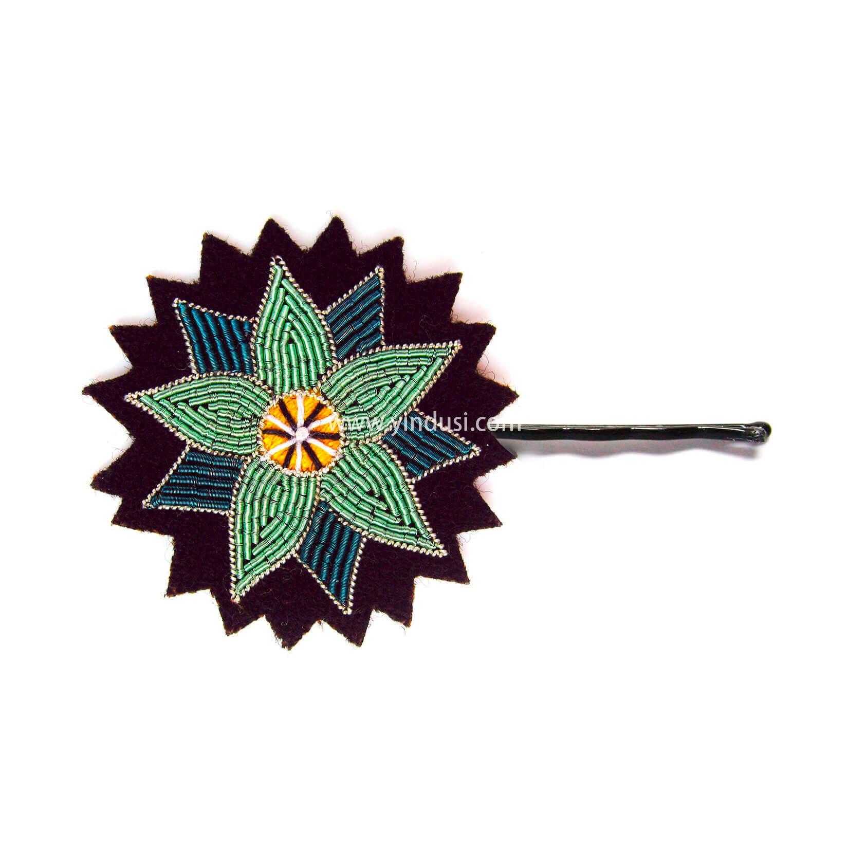 印度丝徽章工厂定制手工刺绣金属丝仙人掌花头饰发夹,仙人掌在您的头发中…