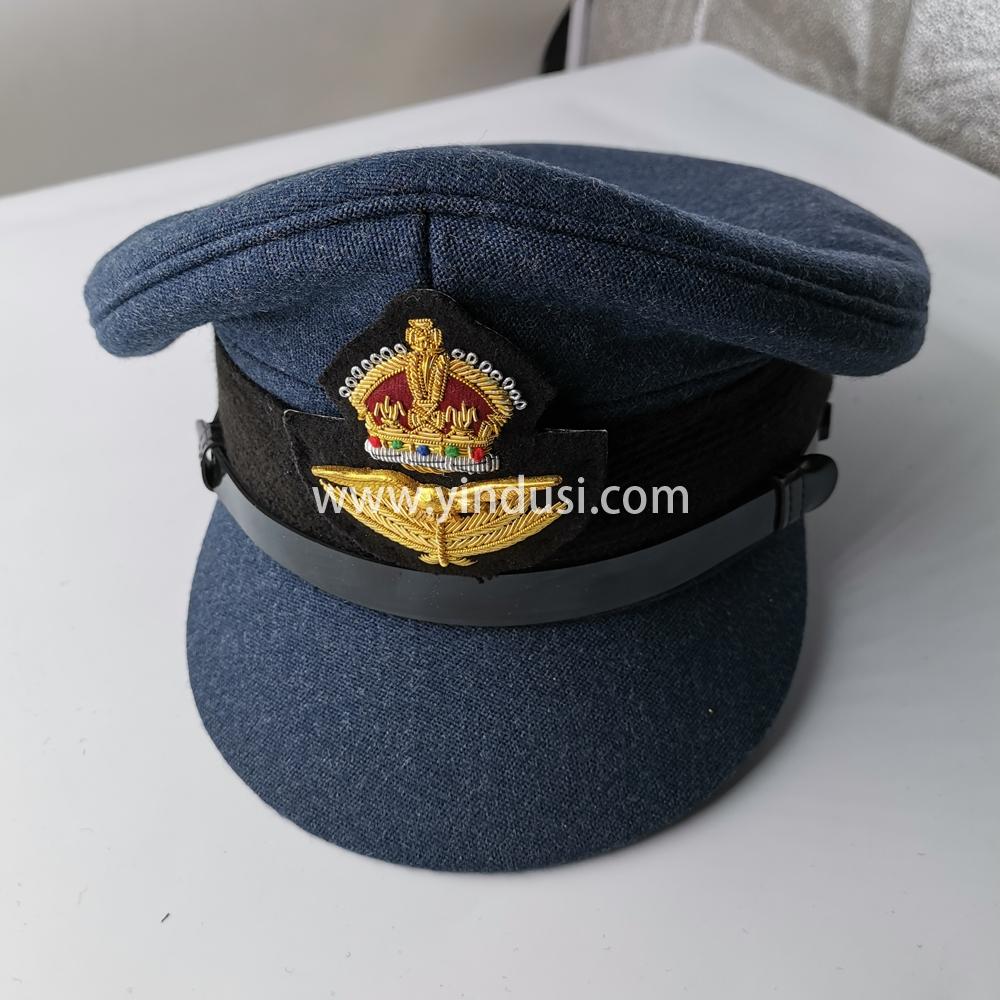 印度丝徽章定制工厂手工刺绣大盖帽大檐帽帽徽帽檐定做演出军用帽子