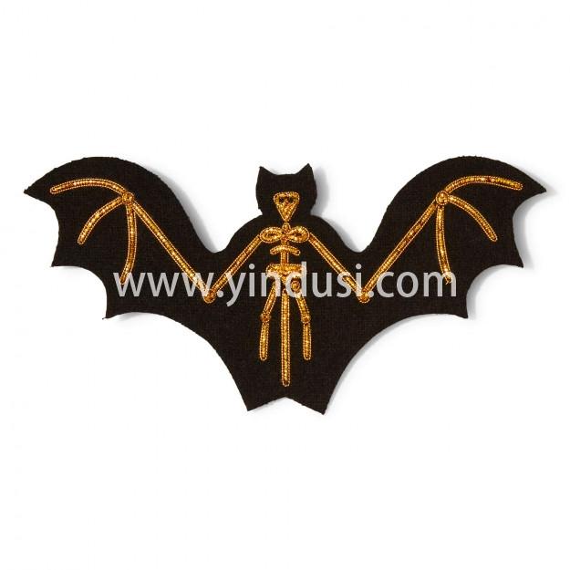 印度丝手工刺绣徽章卡通创意百搭蝙蝠骨架胸针高档女配饰,走出你的山洞。