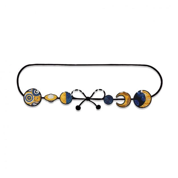 印度丝手工刺绣徽章金属丝刺绣太阳月亮印度丝腰带农历周期,在你的腰间循环。