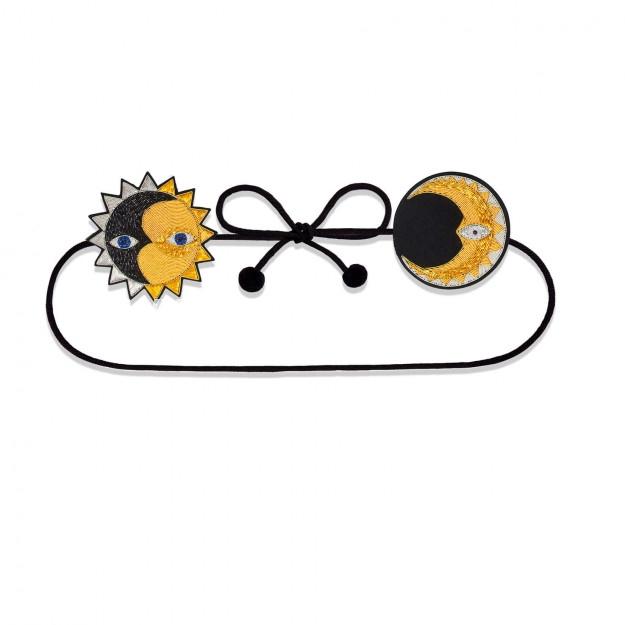 印度丝手工刺绣徽章时尚潮流金属丝手工日月腰带,太阳与月亮会合。