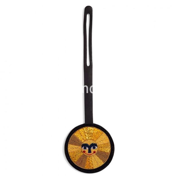 印度丝手工刺绣徽章金属丝太阳笑脸手拿包小包,闪闪发光。