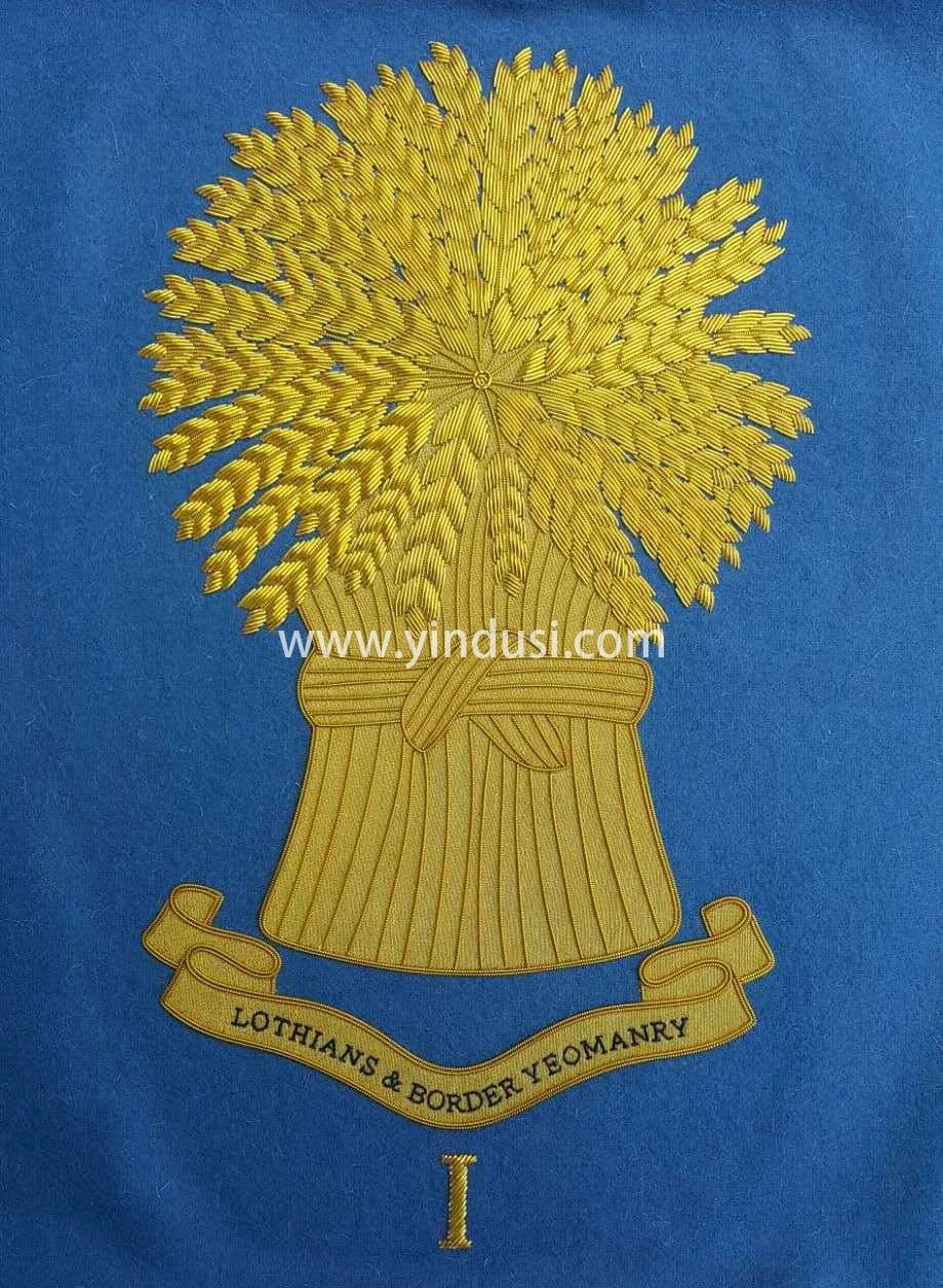 印度丝徽章工厂定制大徽章金属丝刺绣金色大树布贴国旗印度丝定做
