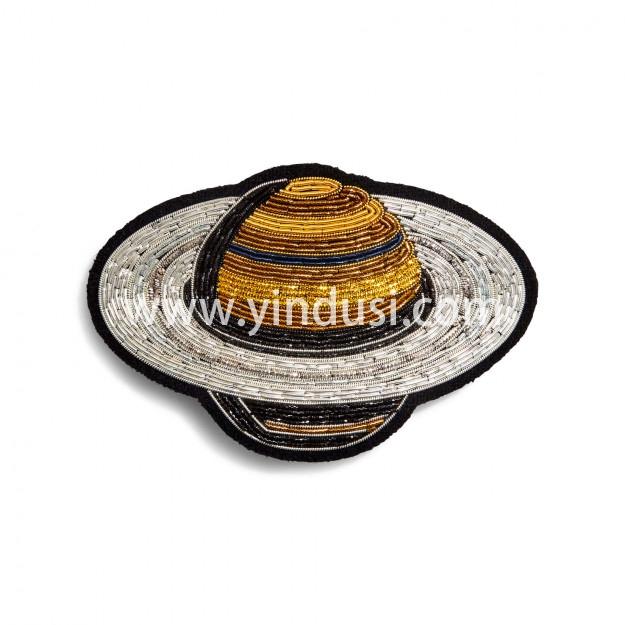 印度丝手工刺绣徽章工厂定做印度丝太空星球发夹,您头发中的星球。