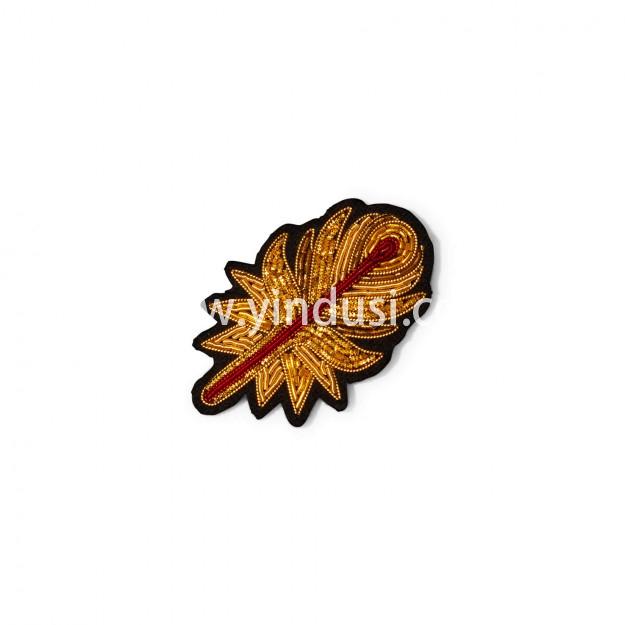 印度丝徽章工厂手工刺绣凤凰羽毛胸针定做,传奇鸟。