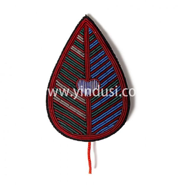 印度丝徽章工厂定制金属丝手工刺绣树叶胸针定做,为了庆祝您对大自然的热爱。