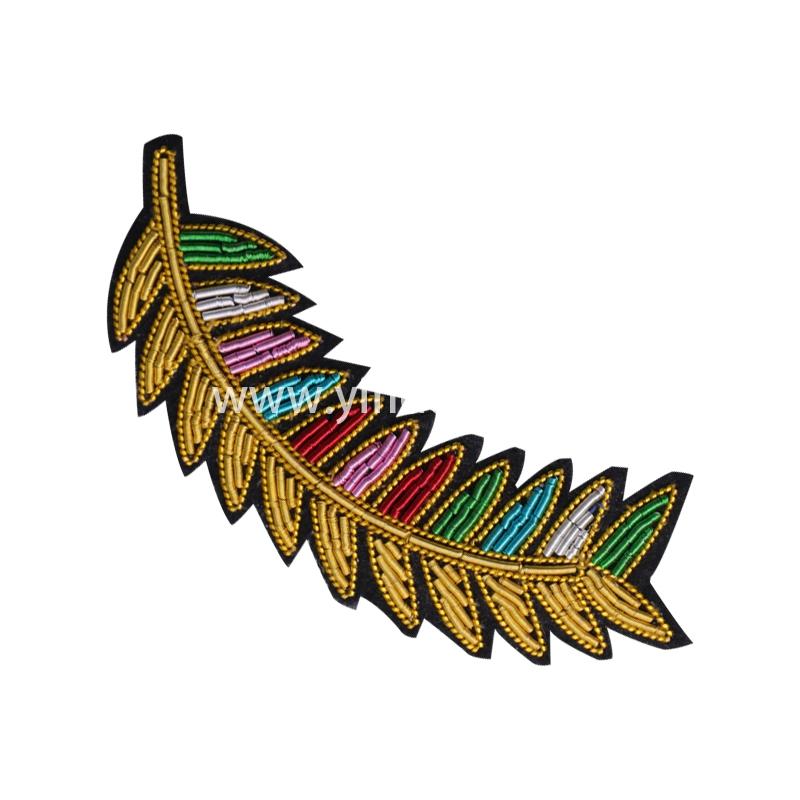 印度丝手工刺绣橄榄叶胸针定做金属丝徽章工厂大牌布贴高端定制衣服包包鞋子配饰
