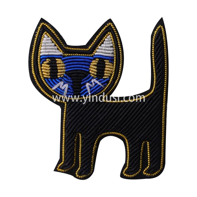 印度丝徽章定制工厂金属丝手工刺绣大黑猫胸针定做衣服包包配饰