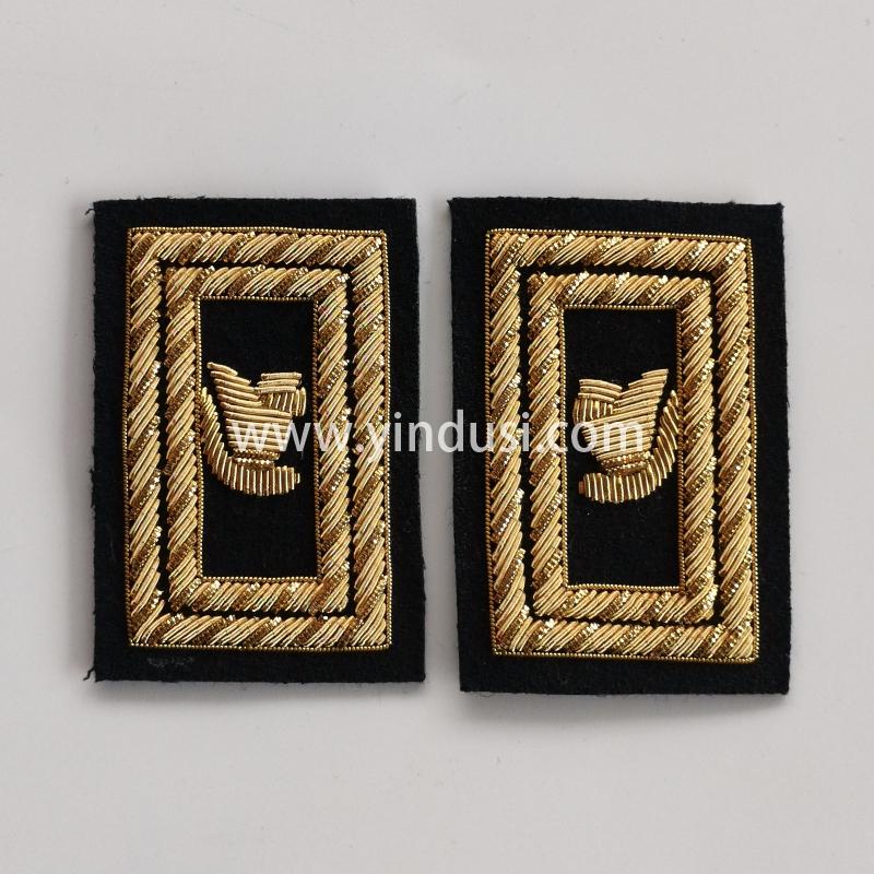印度丝手工刺绣金属丝领章肩章定做影视道具领章定做印度丝徽章定做工厂