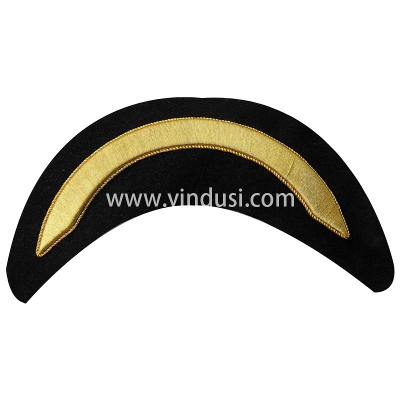 印度丝徽章定制工厂手工刺绣金属丝刺绣帽檐帽徽帽腰定做大盖帽