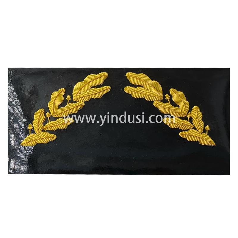 印度丝徽章定做工厂手工刺绣军帽大盖帽麦穗叶子帽檐刺绣定做