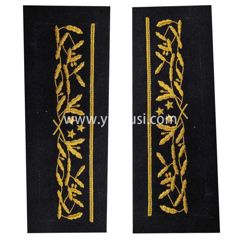 印度丝徽章定制工厂手工刺绣金属丝军服袖带刺绣定做影视道具定制