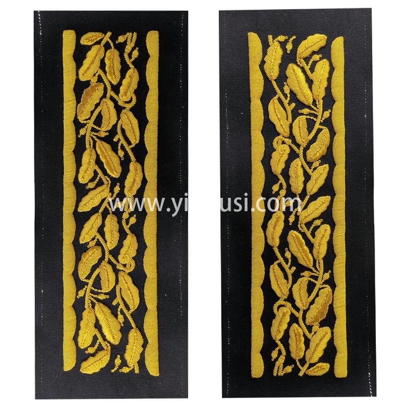 印度丝徽章定制工厂手工重工刺绣金属丝军服袖带军用品道具定做