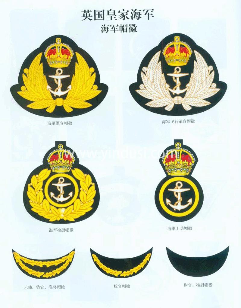 二战时期英国皇家海军军官帽徽及军衔标志(肩章,袖章,臂章)