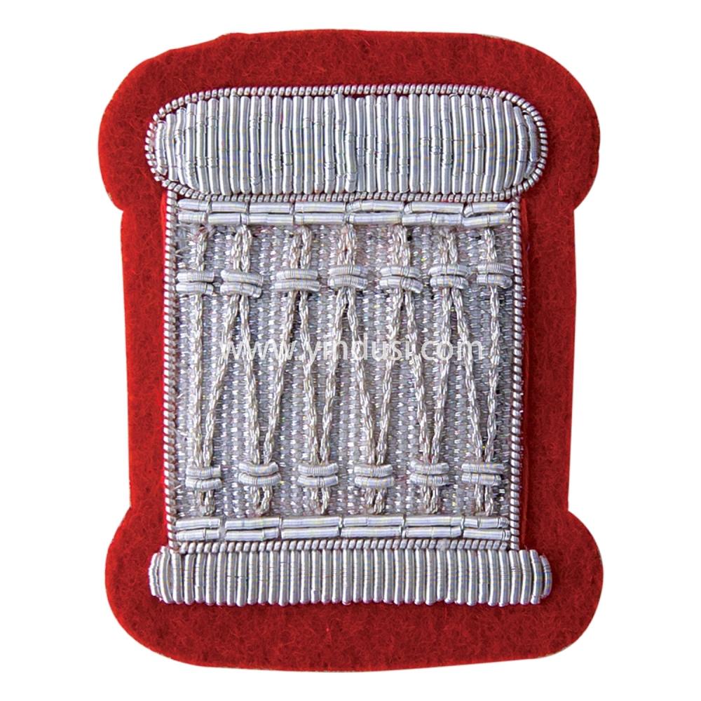 印度丝徽章定制工厂金属丝手工刺绣高端大牌徽章军帽帽徽帽檐定做