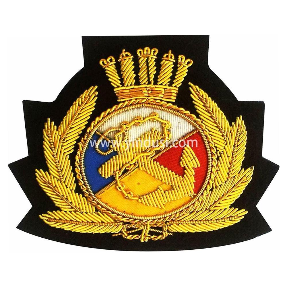 印度丝手工刺绣金属丝徽章定制工厂军帽帽徽高端大牌布贴定做