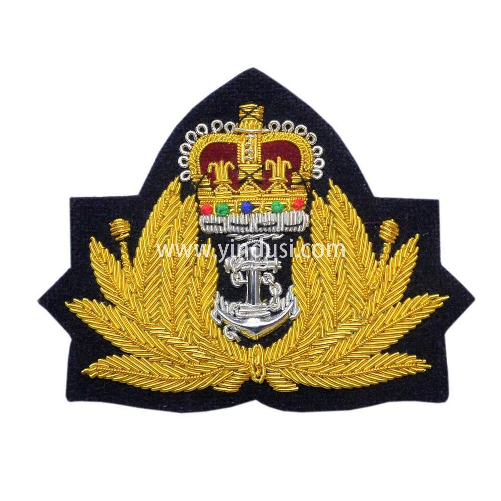 印度丝徽章定制工厂手工刺绣金属丝布贴徽章二战德国苏联军帽帽徽定做