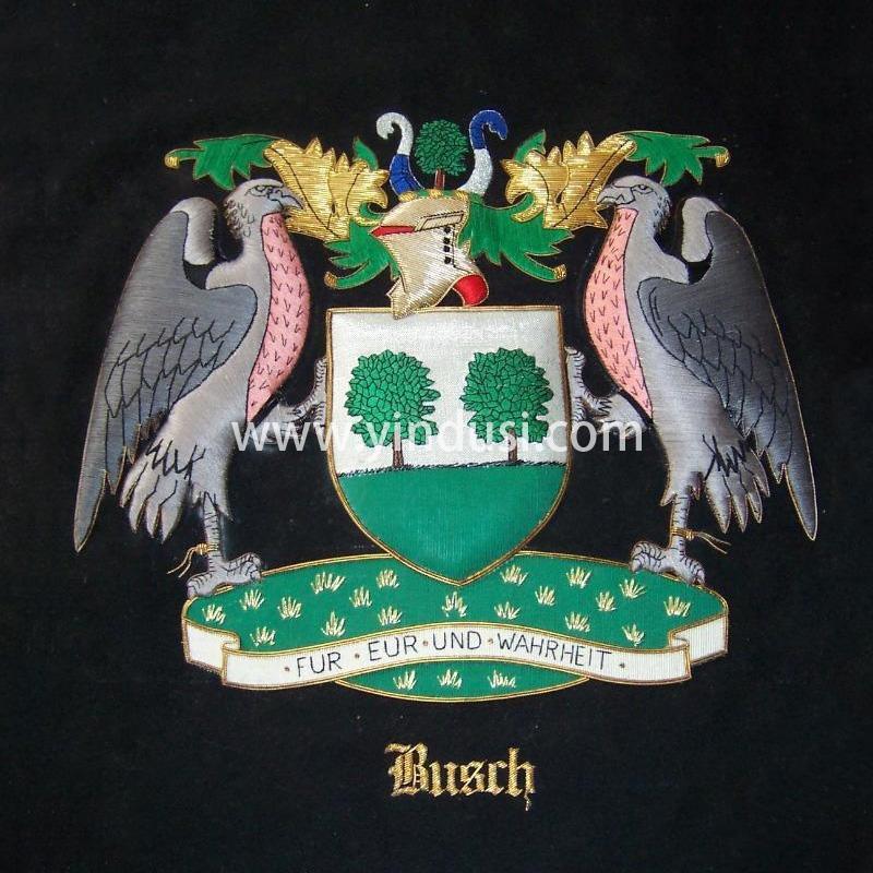 印度丝徽章定制工厂金属丝手工刺绣徽章布贴英国德国国徽国旗