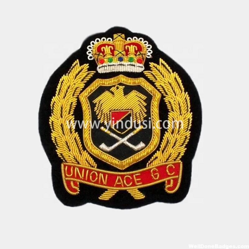 印度丝手工刺绣徽章定制工厂金属丝英国德国美国军帽帽徽定做