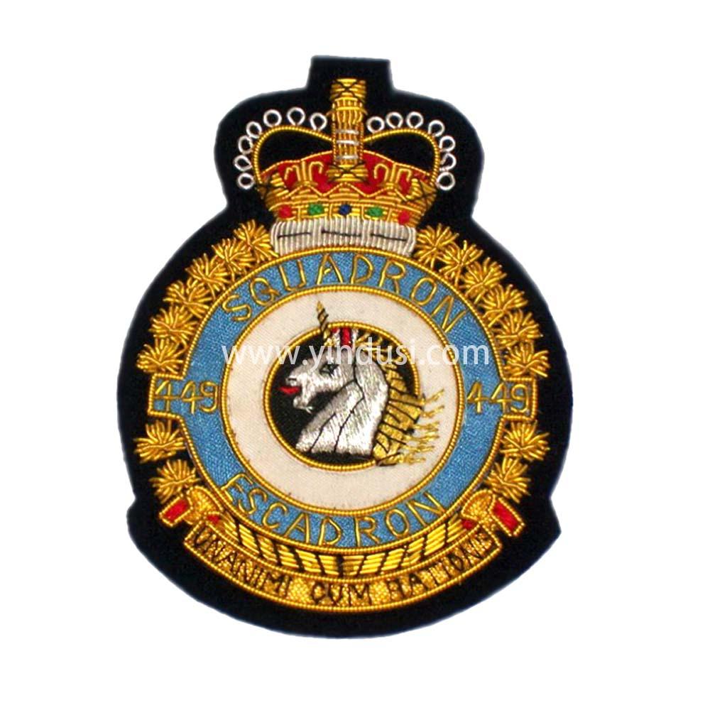 印度丝徽章定制工厂手工刺绣金属丝布贴德国英国军帽帽徽胸章定做