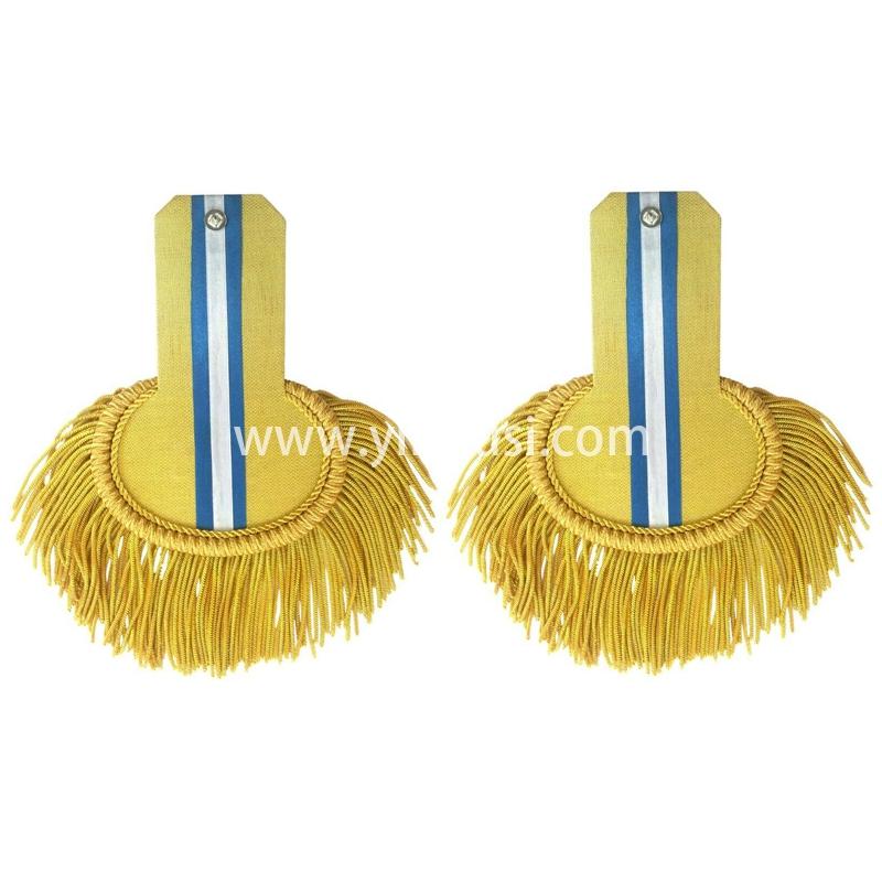印度丝手工制作金属丝大流苏肩章定制二战德国军衔军服金蓝色肩章金线饰肩板