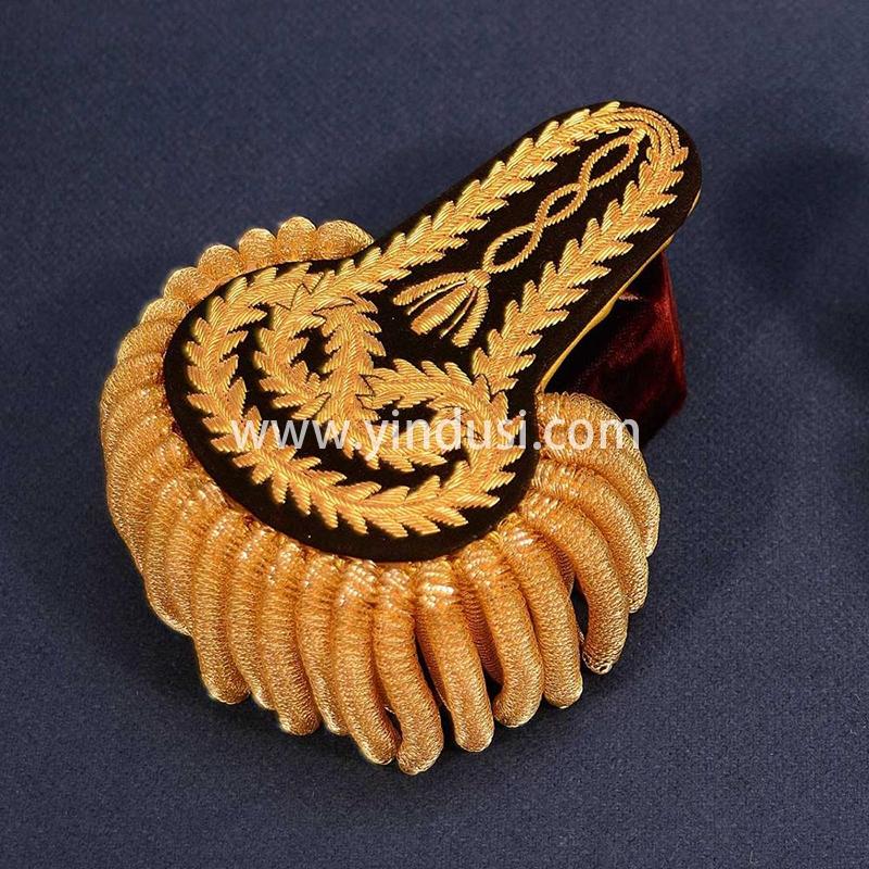 印度丝手工刺绣制作大流苏肩章定制二战德国苏联大元帅军服用金条流苏肩章